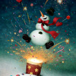 Holiday greeting card or illustration with cheerful snowman and fireworks — Stock Photo