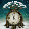 Fairy tree with clock and bells. Winter holiday illustration. - Stock Photo