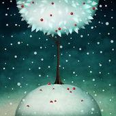 Beautiful round winter tree — Stock Photo