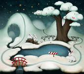 Winter illustration or postcard with lake, tree and rabbits . — Stock Photo