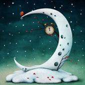 луна и часы — Стоковое фото
