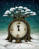 童话树与时钟和铃铛。冬天的假期图. — 图库照片