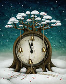 Fairy tree with clock and bells. Winter holiday illustration. — Stock Photo