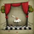 Stockfoto: Illustration to fairy tale Alice in Wonderland.