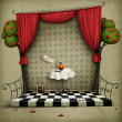 Illustration to the fairy tale Alice in Wonderland. - Stok fotoğraf