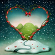 Greeting card or poster with trees in form of heart. - Stok fotoğraf