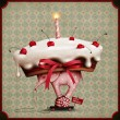 Stock Photo: Greeting card or poster with cake, an elephant and snail on wheels.