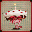 Greeting card or poster with cake, an elephant and snail on wheels. — Stok fotoğraf