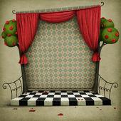 Pastel achtergrond met podium en gordijnen — Stockfoto