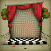 Pastel background with stage and curtains — 图库照片