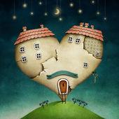 Illustration ou une affiche avec maison en forme de coeur. — Photo