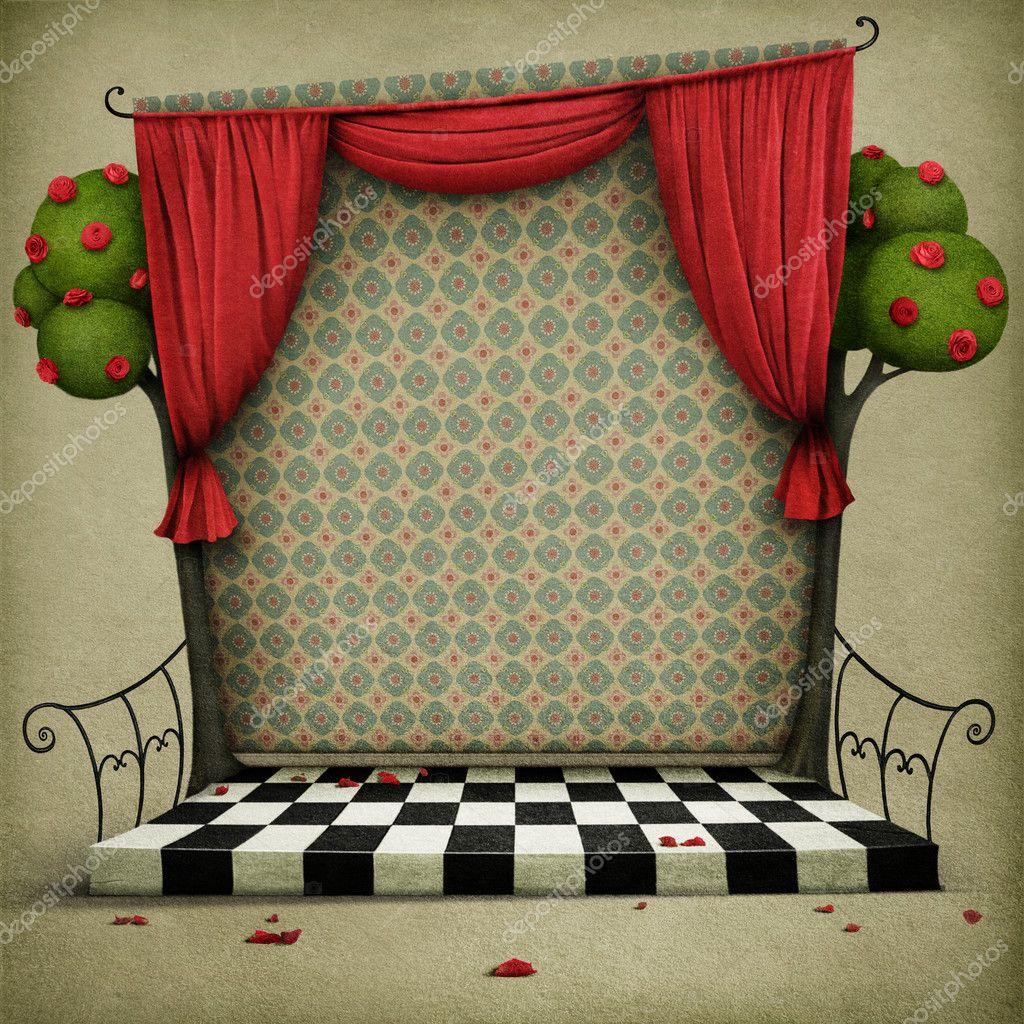 Fondo pastel con escenario y cortinas foto de stock - Cortinas para escenarios ...