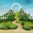 Background or illustration green meadow with roses and footpath — Stock Photo