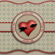 Greeting card with heart symbol and the clock. - 图库照片