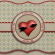 Greeting card with heart symbol and the clock. — Stok fotoğraf