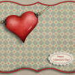 Greeting card with heart symbol and the clock. — ストック写真