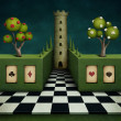 Background or illustration of fairy tale with green fence and tower. - Stok fotoraf