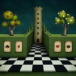 Background or illustration of fairy tale with green fence and tower. -  