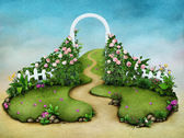 Background or illustration green meadow with roses and footpath — 图库照片