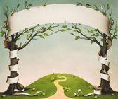 Printemps pré avec arbres, oiseaux et fleurs et la bannière papier grand format. — Photo