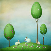 Kartkę z życzeniami lub plakat lub ilustracja na wielkanoc. trzy króliki i trzy drzewa — Zdjęcie stockowe