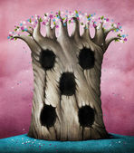 Background or illustration with large flowering tree and hollows. — Stock Photo