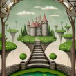 Stock Photo: Beautiful fairy background or illustration with hanging meadows and castle.