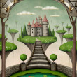 Beautiful fairy background or illustration with hanging meadows and castle. — Photo