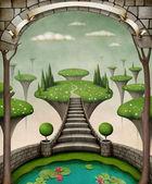 与石拱和树木的柔和背景. — 图库照片
