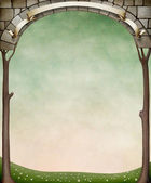 Pastel background with a stone arch and trees. — 图库照片