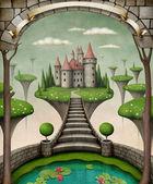 Bajkowe tło lub ilustracji wiszące łąki i zamek. — Zdjęcie stockowe