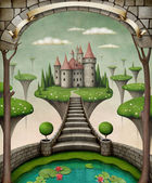 Beautiful fairy background or illustration with hanging meadows and castle. — Foto de Stock