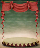 Background, texture with red curtains and circus scene. — Stock Photo