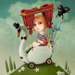 Conceptual illustration or poster. Girl travels on Swan. — Foto Stock