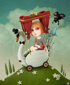 Conceptual illustration or poster. Girl travels on Swan. — Stock Photo
