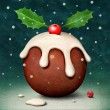 Stock Photo: Christmas card or poster with Plum pudding
