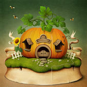 Little House Pumpkin — Stock Photo