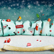 Snow letters with toys and sweets. — Stock Photo