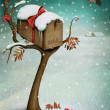 Mailbox in winter forest. Fabulous illustration or greeting card with Christmas. — Stock Photo