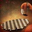 Stock Photo: Conceptual illustration for the fairy tale Wonderland with flamingo and platform.
