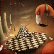 Stock Photo: Conceptual illustration for fairy tale Alice in Wonderland with flamingo and mushrooms.