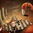 Conceptual illustration for the fairy tale Alice in Wonderland with flamingo and mushrooms. — Stock Photo #37003255