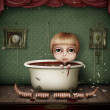 Conceptual illustration of dark room with toys. Little girl takes a bath. — Stock Photo