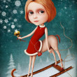 Greeting card or poster for New Year or Christmas with snow girl — Stock fotografie