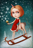 Greeting card or poster for New Year or Christmas with snow girl — Stock Photo
