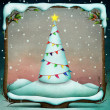 Snowy tree in New Year or Christmas, decorated with flags of frame — Stock Photo #37021969
