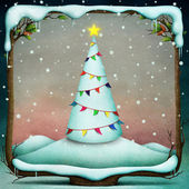 Snowy tree in New Year or Christmas, decorated with flags of frame — Stock Photo