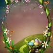 Spring frame with flowers and Easter eggs — Stock Photo