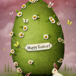 Greeting card with Easter egg and rabbits — Stock Photo