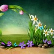 Spring background for greeting card — 图库照片